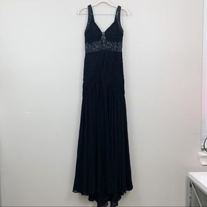 Sue Wong Black Beaded Sequined Strap Pleated Dress